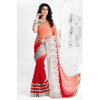 Vastrani Red & Orange Georgette Embroidered Saree With Blouse