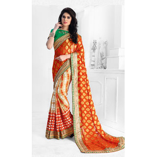 Vastrani Orange & Cream Chiffon Embroidered Saree With Blouse