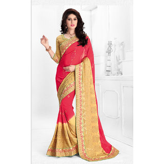 Vastrani Pink & Yellow Viscose Embroidered Saree With Blouse