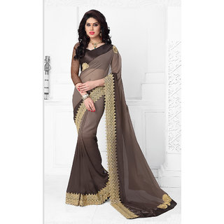 Vastrani Grey Georgette Embroidered Saree With Blouse