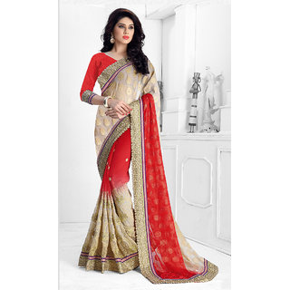 Vastrani Red & Grey Polyester Embroidered Saree With Blouse