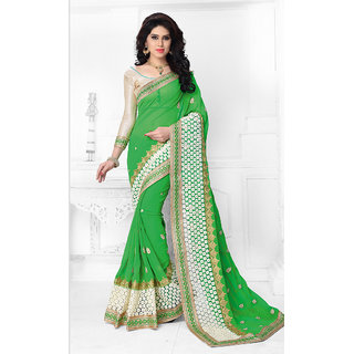 Vastrani  Liril Green Embroidered Georgette Party Wear Saree 137S424