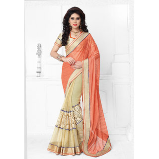 Vastrani  Orange and Cream Embroidered Lycra and Net Party Wear Saree 137S426