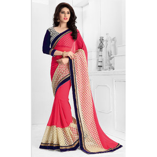 Vastrani  Pink Embroidered Georgette and Net Party Wear Saree 137S428