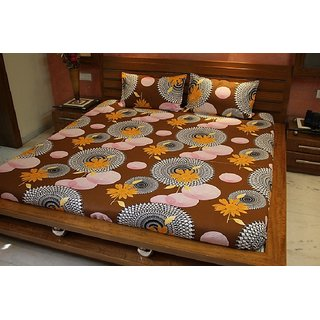 V-TEL Double Cotton Bedsheet With Two Pillow Covers
