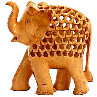 ShopOJ Carved Wooden Elephant With Jaali Pattern