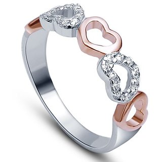 RM Jewellers CZ 92.5 Sterling Silver American Diamond Stylish Heart Ring For Women