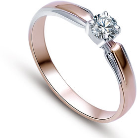 RM Jewellers CZ 92.5 Sterling Silver American Diamond Solitaire Stylish Ring For Women