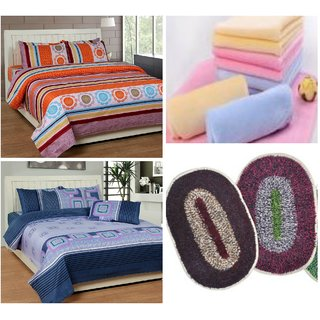combo of 2 double bed sheets  4 pillow covers  3 face towels  2 door mats