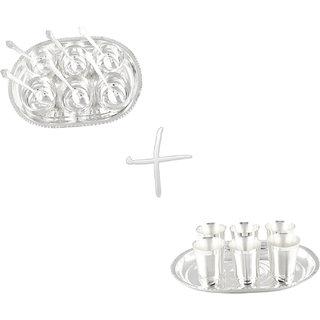 Gs Museum Silver Plated Manchurian 6 Bowls  Mayuri 6 Glass Set(GSMCB041)