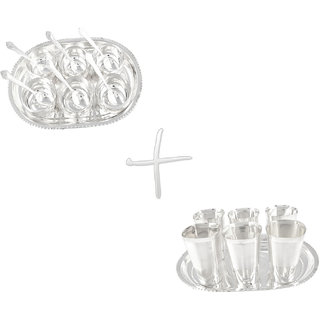Gs Museum Silver Plated Manchurian 6 Bowls  Square Met Finish 6 Glass Set(GSMCB045)