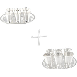 Gs Museum Silver Plated Mayuri 6 Glass  Square Met Finish 6 Glass Set(GSMCB049)