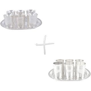 Gs Museum Silver Plated Juli Diamond 6 Glass  Amrapali 6 Glass Set(GSMCB050)
