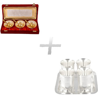 Gs Museum Silver  Gold Plated 3 Heavy Dil Bowl Set And Juli Diamond Glass Set(GSMCB266)