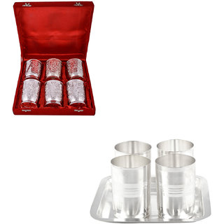 Gs Museum Silver Plated 6 Glass And Amrapali Glass Set(GSMCB483)