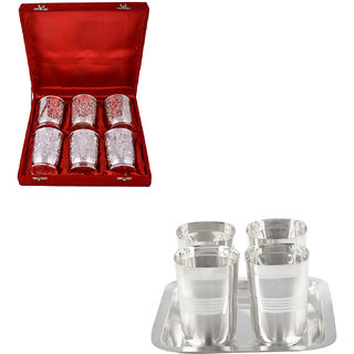 Gs Museum Silver Plated 6 Glass And Square Glow Finish Glass Set(GSMCB484)