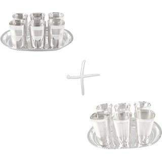 Gs Museum Silver Plated Square Glow Finish 6 Glass  Square Met Finish 6 Glass Set(GSMCB055)