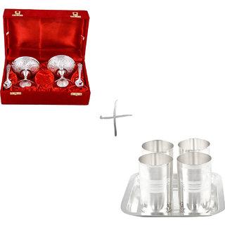 Gs Museum Silver Plated 2 Ice Cream Mug And Amrapali Glass Set(GSMCB117)