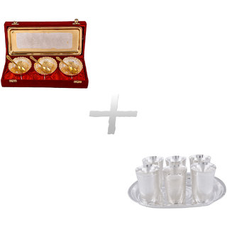 Gs Museum Silver  Gold Plated 3 Heavy Dil Bowl Set And Juli Diamond Glass Set(GSMCB272)