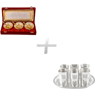 Gs Museum Silver  Gold Plated 3 Heavy Dil Bowl Set And Square Glow Finish Glass Set(GSMCB274)