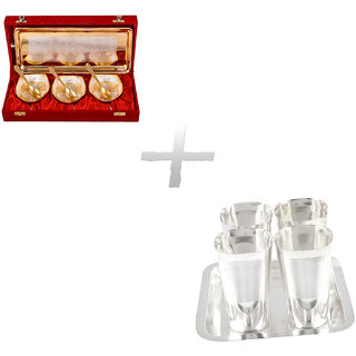 Gs Museum Silver  Gold Plated 3 Heavy Square Bowl Set And Square Met Finish Glass Set(GSMCB281)
