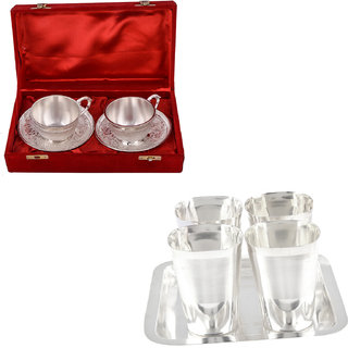 Gs Museum Silver Plated 2 Cup And Square Met Finish Glass Set(GSMCB497)