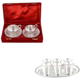 Gs Museum Silver Plated 2 Cup And Mayuri Glass Set(GSMCB499)