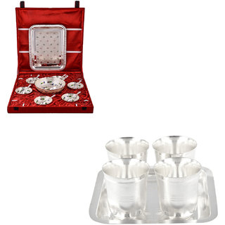Gs Museum Silver Plated Pudding And Juli Diamond Glass Set(GSMCB542)