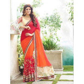 Online Fayda Red & Orange Georgette Embroidered Saree With Blouse