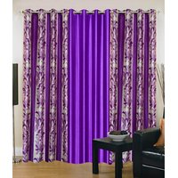 Jbg Home Store Purple Polyester Long Door Eyelet Stitch Curtain Feet (Combo Of 3)