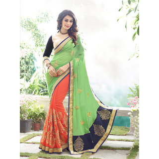 Online Fayda Green  Orange Georgette Embroidered Saree With Blouse