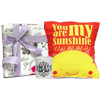 Red And Yellow Cushion With Best Maa Mug