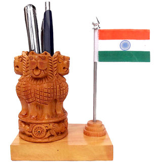 ShopOJ Wooden Pen Holder Handicraft With Flag