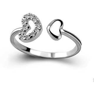 RM Jewellers CZ 92.5 Sterling Silver American Diamond Amazing Heart Ring For Women