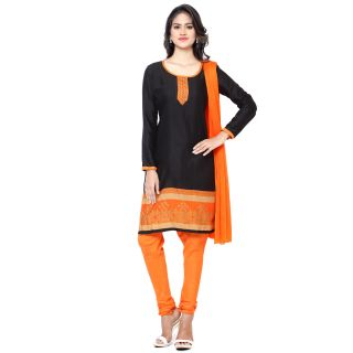 Thankar Black And Orange Printed Polycotton  Dress Matirial