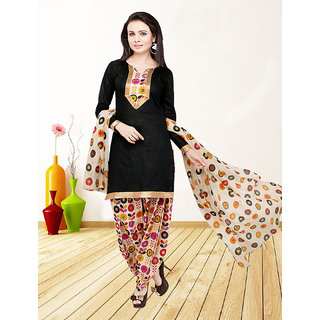 Thankar Black And Multy Printed Polycotton  Dress Matirial (Unstitched)