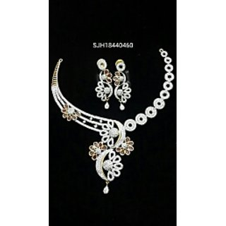 Sparsh Jewels Cz Party Wear Antique Two Tone Plated Necklace Set