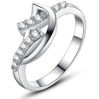 RM Jewellers CZ 92.5 Sterling Silver American Diamond Lovely Awesome Ring For Women
