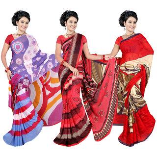 Combo of 3 Multicolor Georgette Printed Casual Saree/Sari