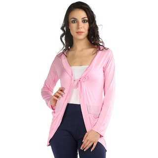 Wajbee Women Pink Color Shrug