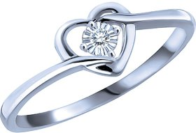 RM Jewellers CZ 92.5 Sterling Silver American Diamond Solitaire Heart Ring For Women
