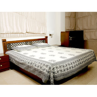 Jodhaa Double Bedsheet Set In Cotton Printed In Off White And Grey Floral Print With Gray Border- Queen Size