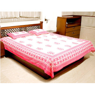 Jodhaa Double Bedsheet Set In Cotton Printed In Off White And Pink Floral Print With Pink Border- Queen Size