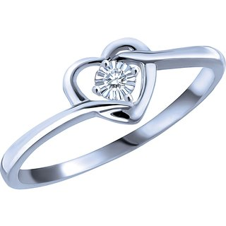 Buy RM Jewellers CZ 92.5 Sterling Silver American Diamond Solitaire Heart  Ring For Women Online - Get 45% Off de713df690