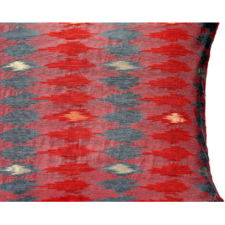 Jodhaa Large Cushion Cover In Red Color Art Silk Ikat Design