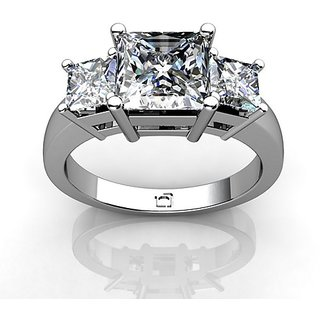 RM Jewellers CZ 92.5 Sterling Silver American Diamond Fashionable Ring For Women