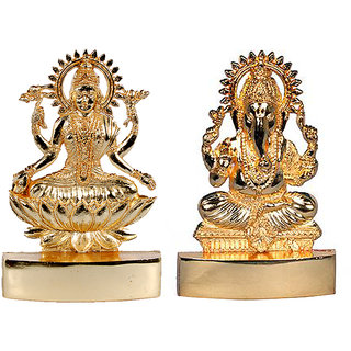 Golden Plated Laxmi  Ganesha Idol