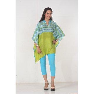 Omn Lime Green Handloom Silk Kaftan