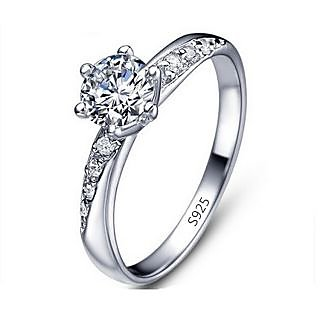 RM Jewellers CZ 92.5 Sterling Silver American Diamond Stylish Lovely Ring For Women