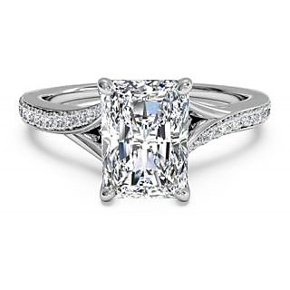 RM Jewellers CZ 92.5 Sterling Silver American Diamond Glorious Princess Ring For Women